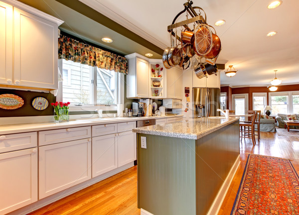 Large white and green kitchen with hardwood floor. Stock photo © iriana88w
