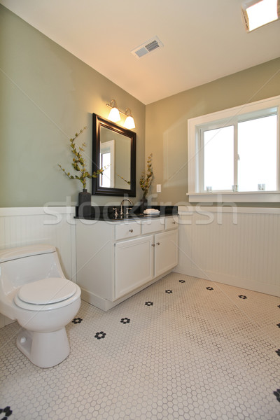 Stock photo: Bathroom interior with white tile, plank wall trim, green walls