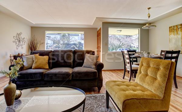 Stok fotoğraf: Oturma · odası · kahverengi · kanepe · sarı · sandalye · iç