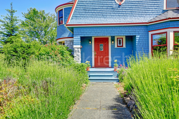 Blue entrance porch with red door.  Stock photo © iriana88w