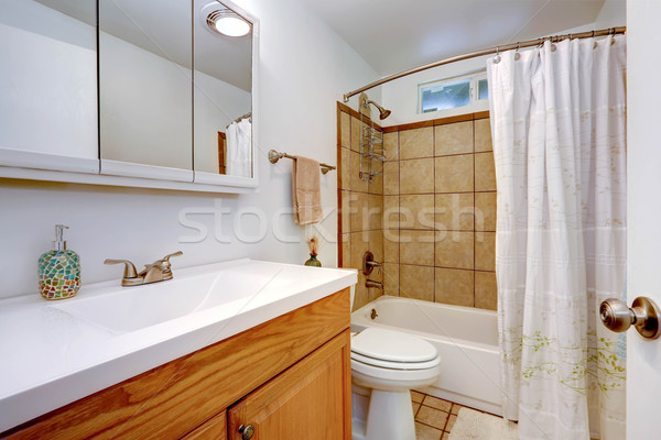 Bathroom interior with wooden vanity cabinet Stock photo © iriana88w