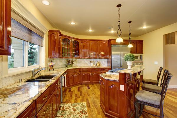 Groot luxe keuken marmer bar huis Stockfoto © iriana88w
