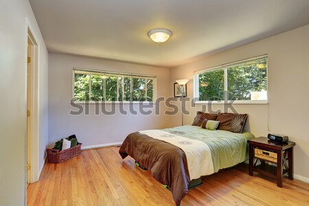 Large grey bedroom with dresser, tv and blue curtains. Stock photo © iriana88w