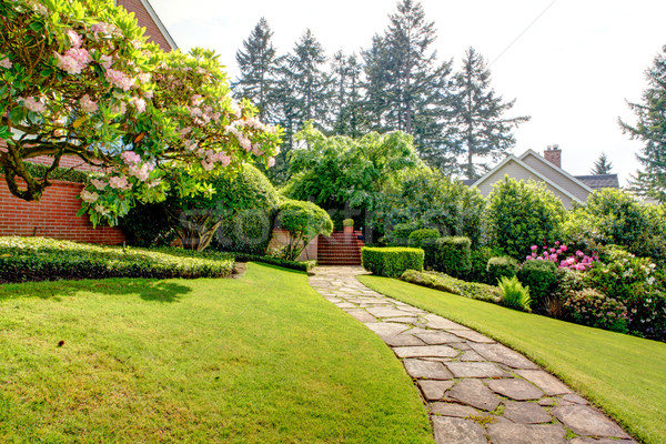 Spring garden and pathway near home. American Northwest. Stock photo © iriana88w