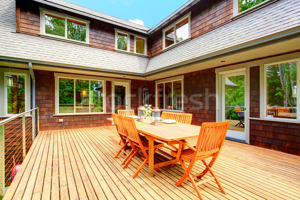 Backyard deck overlooking amazing nature landscape Stock photo © iriana88w
