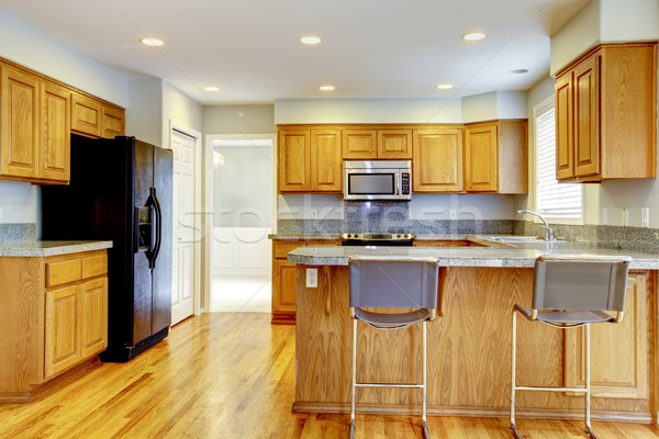новых классический кухне Бар твердая древесина американский Сток-фото © iriana88w