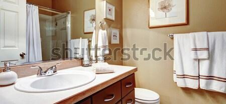 Bagno interni view legno vanità specchio Foto d'archivio © iriana88w