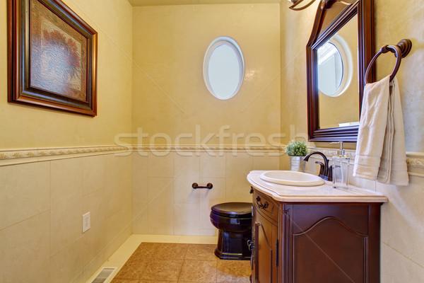 Stílusos fél ovális ablak fürdőszoba kicsi Stock fotó © iriana88w