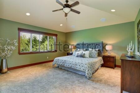 Foto stock: Brillante · dormitorio · interior · blanco · cama · azul