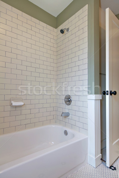Simple white and green bathroom interior with tile walls and tub. Stock photo © iriana88w