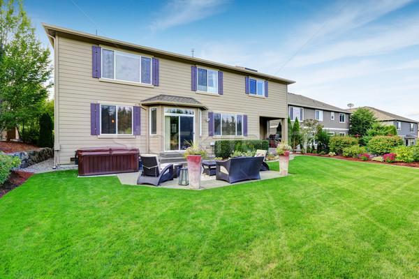 Stock photo: Luxury house exterior with impressive backyard landscape design