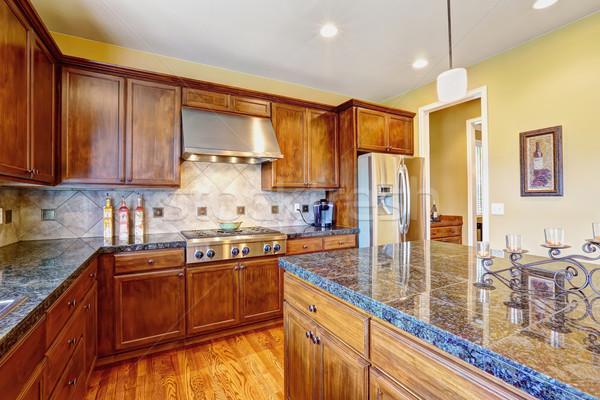 Luxury kitchen room with island Stock photo © iriana88w