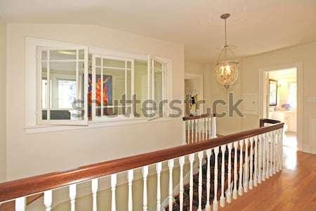 Luxe trappenhuis kroonluchter kers witte veiligheid Stockfoto © iriana88w