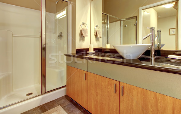Bathroom with wood modern cabinets and white sink. Stock photo © iriana88w