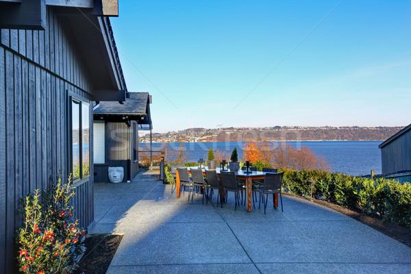 Perfect Tacoma waterfront house exterior with winter decor. Stock photo © iriana88w