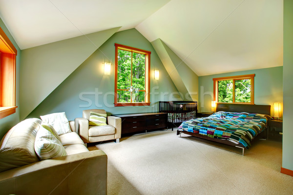 Elegant spacious bedroom Stock photo © iriana88w