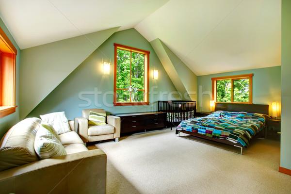 Elegáns tágas hálószoba magas plafon fekete Stock fotó © iriana88w