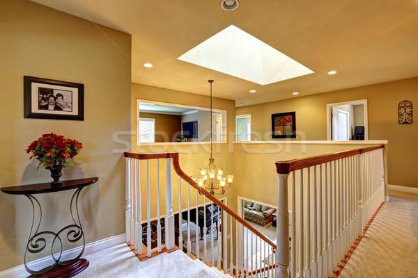 Luxury house interior. Upstairs hallway with staircase Stock photo © iriana88w