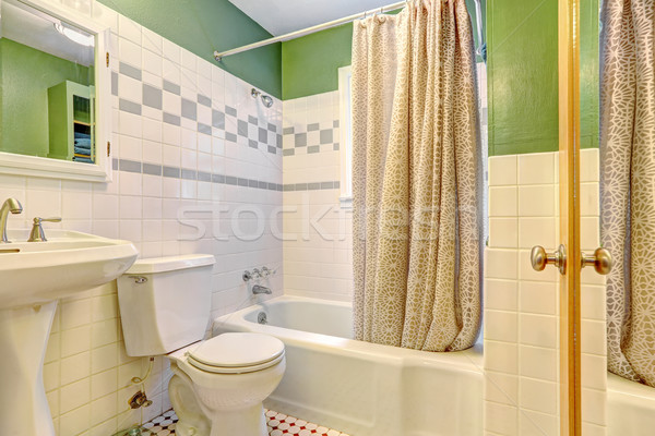 Bathroom inteiror with tile wall trim Stock photo © iriana88w