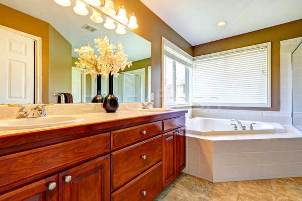 Luxury bathroom interior with corner bath tub Stock photo © iriana88w