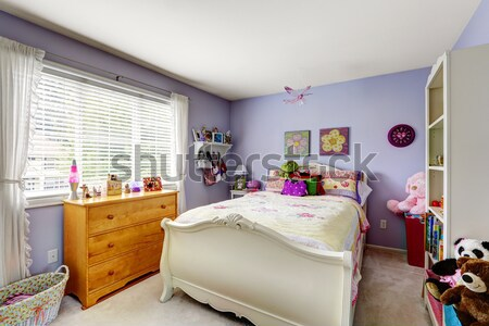 Baby girl room with white crib and clothes. Stock photo © iriana88w