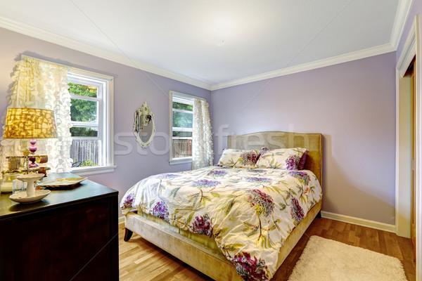 Bedroom in light lavender color Stock photo © iriana88w