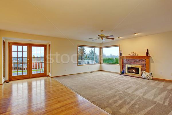 Bútorozatlan nappali szőnyeg kényelmes kandalló ajtó Stock fotó © iriana88w