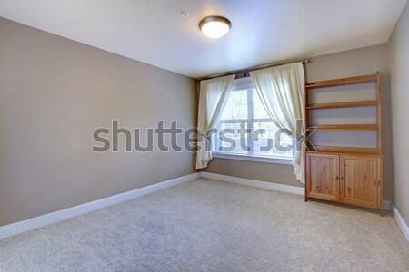 серый пустой комнате ковер полу один окна Сток-фото © iriana88w