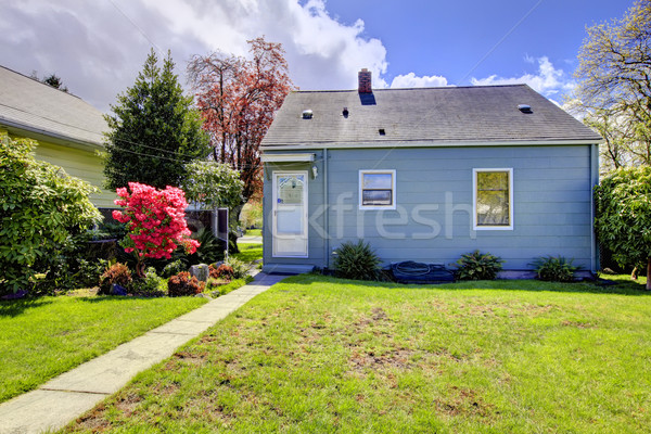 Blue small house with spring landscape from backyard. Stock photo © iriana88w
