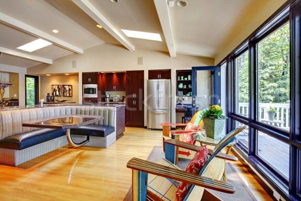 Nyitva modern luxus otthon belső nappali Stock fotó © iriana88w