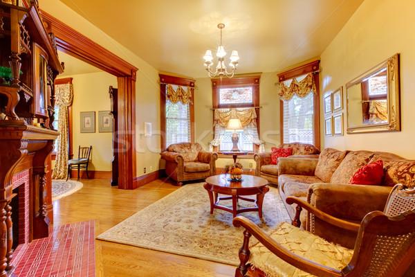 Historisch oude antieke woonkamer interieur amerikaanse Stockfoto © iriana88w