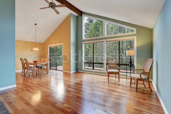 Nagy keményfa padló nagy ablakok ház épület Stock fotó © iriana88w