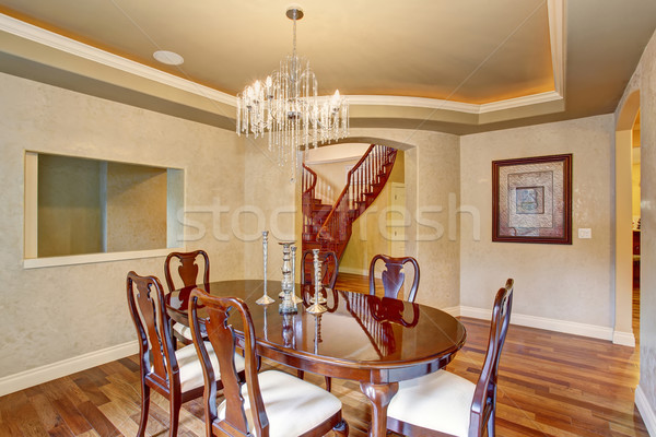 Classical dinning room with beautiful glass chandelier. Stock photo © iriana88w