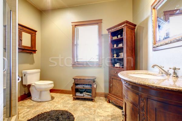 большой ванную древесины мебель природного цветами Сток-фото © iriana88w