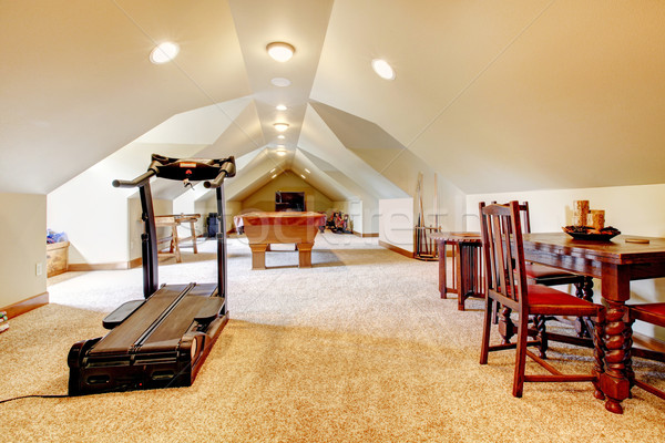 Large long attic game room with tv, pool and sport equipment. Stock photo © iriana88w