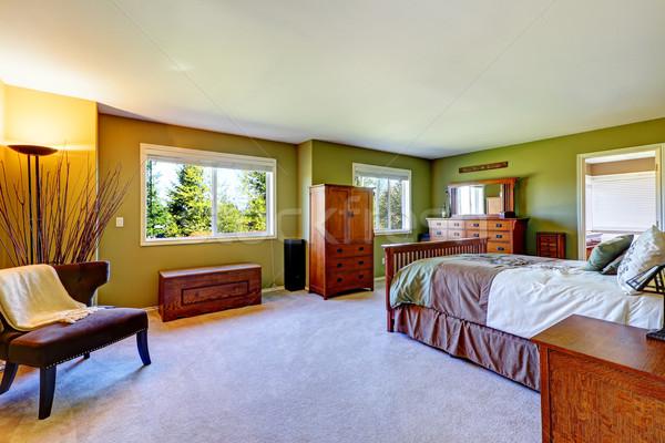 Mester · hálószoba · belső · fényes · zöld · szín - stock fotó ...