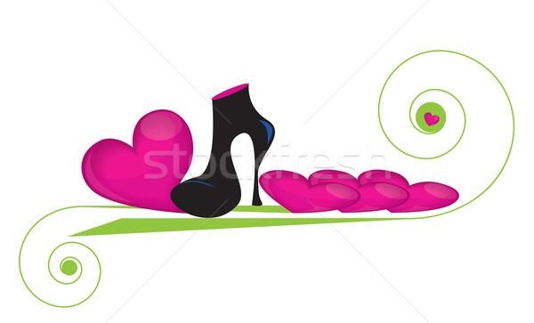 Divatos fekete csizma lefelé szeretet szívek Stock fotó © Irinavk