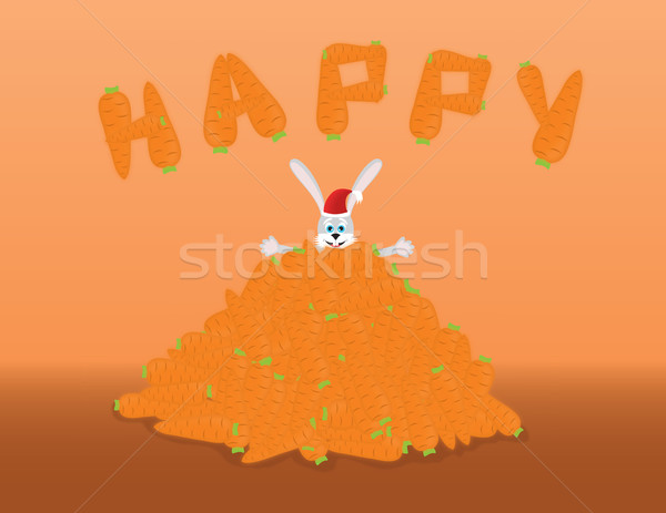 Boldog nyúl halom sárgarépa narancs étel Stock fotó © Irinavk