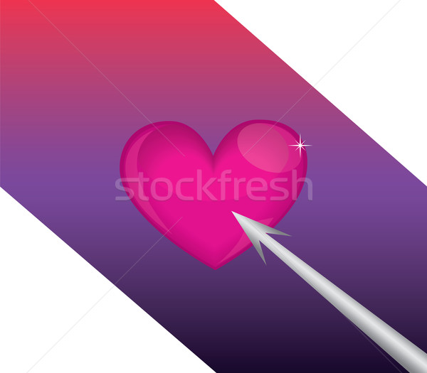 Stock fotó: Szív · nyíl · nagy · piros · szalag · hátterek