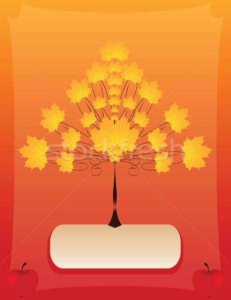 ősz vektor absztrakt fa alma virág Stock fotó © Irinavk