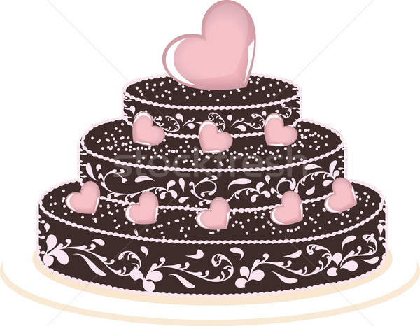 Torta szívek nagy csokoládés sütemény fehér csokoládé Stock fotó © Irinavk