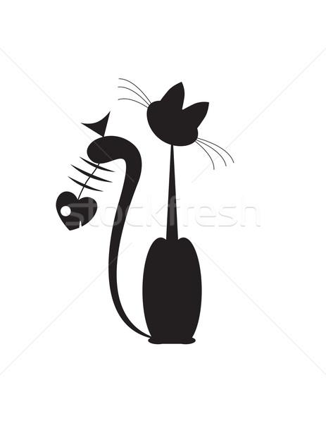 Absztrakt macskák hal fekete macska fekete macska Stock fotó © Irinavk