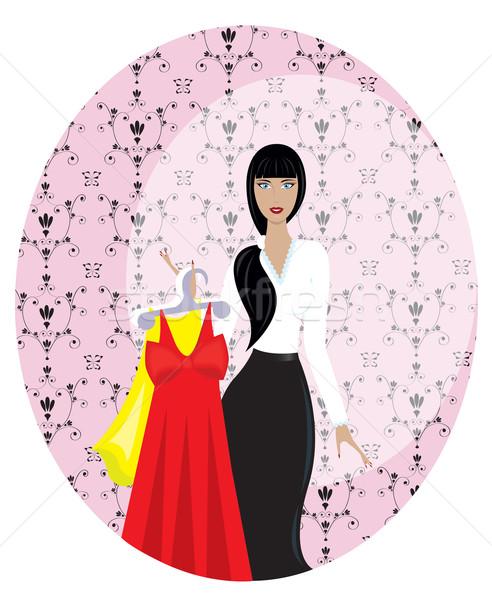 Nina mujer vendedor comprador tienda ropa Foto stock © Irinavk