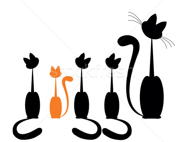 Chat famille silhouette design une Photo stock © Irinavk