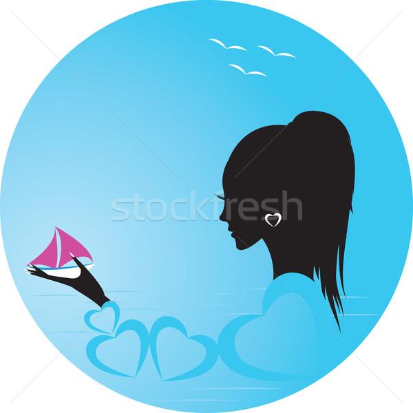 Lány nő jacht tenger víz test Stock fotó © Irinavk