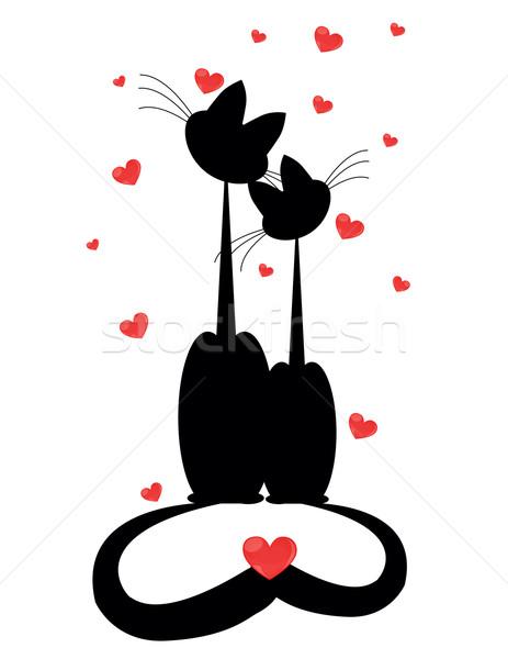 Kettő macskák sziluettek szeretet absztrakt macska Stock fotó © Irinavk