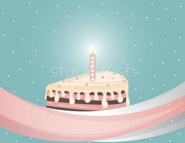 Torta velas vector cumpleanos pastel de chocolate cinta Foto stock © Irinavk