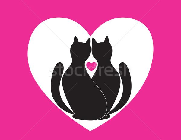 Szeretet macskák fekete piros szív Stock fotó © Irinavk