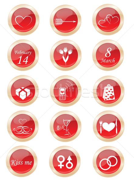 Establecer botón vidrio brillante pelota blanco Foto stock © Irinavk