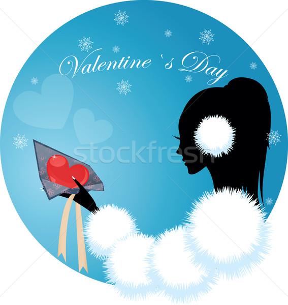 Nina mujer corazón regalo día de san valentín diseno Foto stock © Irinavk